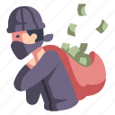 action, crime, film, money, movie, steal, thief icon
