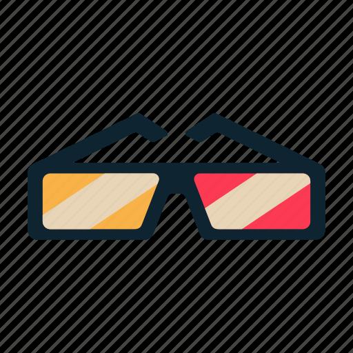 anaglyph, entertainment, film, movie, three-dimensional glasses icon