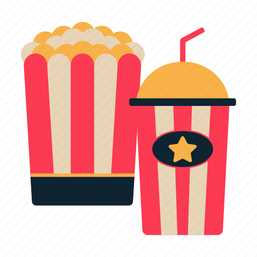 beverage, movie, popcorn and drink, snack, theatre icon