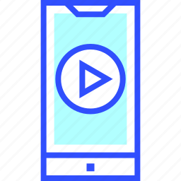 cinema, entertainment, movie, on, smartphone, theater, video icon
