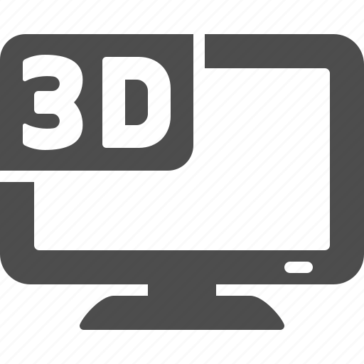 3d, flatscreen, movie, television set, tv icon