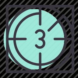 cinema, countdown, film, movie, number, reel icon