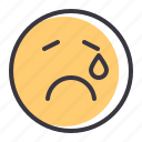 cry, emoticon, emotion, genre, sad, smiley, tragedy icon