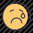 cry, emoticon, emotion, genre, sad, smiley, tragedy icon