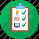 clipboard, checklist, list