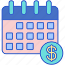 monthly, rate, cost, schedule icon