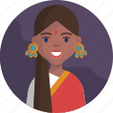 avatar, happy, indian, joyful, multicultural, people, woman icon