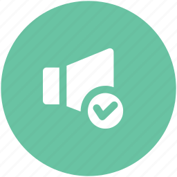 accept, audio checked, loudspeaker, speaker, voice, volume icon
