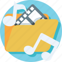 folder, movie, music, playlist, songs icon