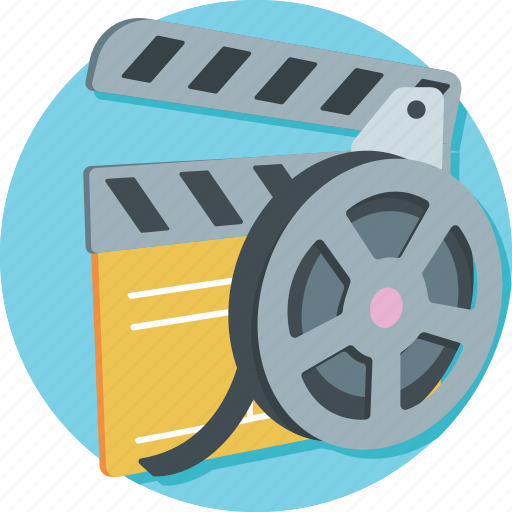 cinema, clapper, film, film reel, movie icon