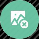 cancel button, cancel image, gallery, image frame, landscape, remove image icon
