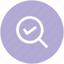 approved, magnifier, magnifying checked, magnifying glass, zoom checked, zoom cross icon