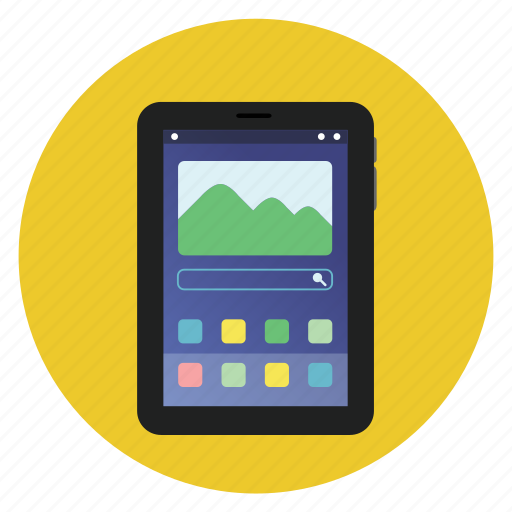 android, communication, detailed, mobile, multimedia, round, samsung, slate, tab, technology icon