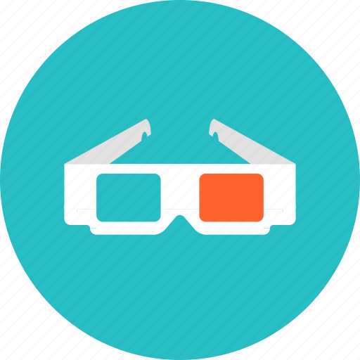 3d, entertainment, film, glasses, movie, technology, tv, video icon