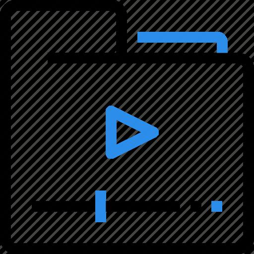 document, entertainment, folder, media, movie, play, video icon