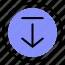 arrow, download, interface, media icon
