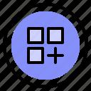 add, interface, list, media icon
