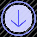 arrow, down, interface, media icon