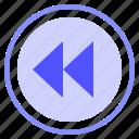 control, fast, media, reverse icon