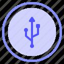 interface, media, share, usb icon