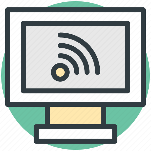 monitor, wifi connected, wifi connection, wifi signals, wireless internet icon
