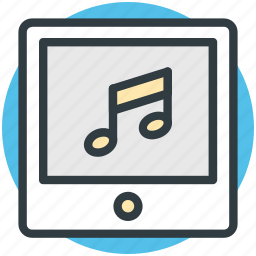 multimedia, music note, tablet, tablet media, tablet pc icon
