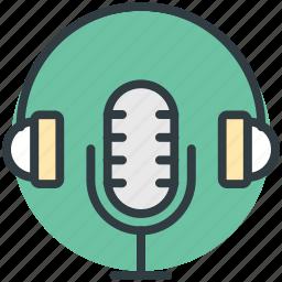 headphones, mic, microphone, radio mic, speak icon