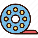 cinema, cinematography, multimedia, roll, roll film, video icon