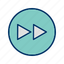 arrows, direction, forward, multimedia, musicplayer, play, player icon