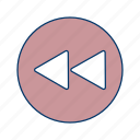 arrows, back, left, musicplayer, play, previous, videoplayer icon