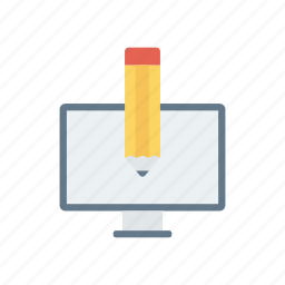 edit, pen, screen, write icon