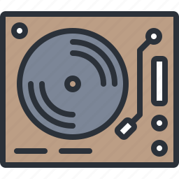 audio, multimedia, music, record, sound, turntable, vintage icon