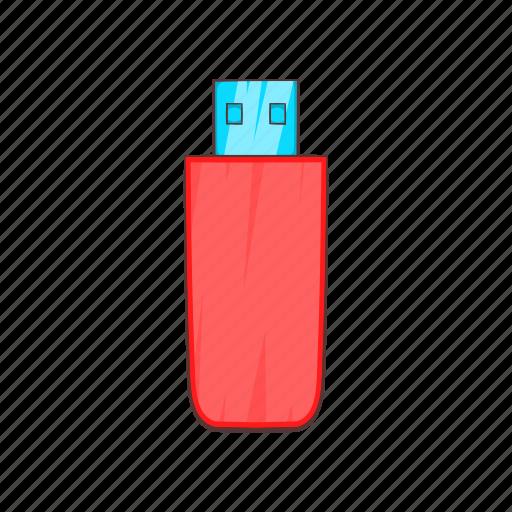cartoon, drive, flash, memory, plug, storage, technology icon