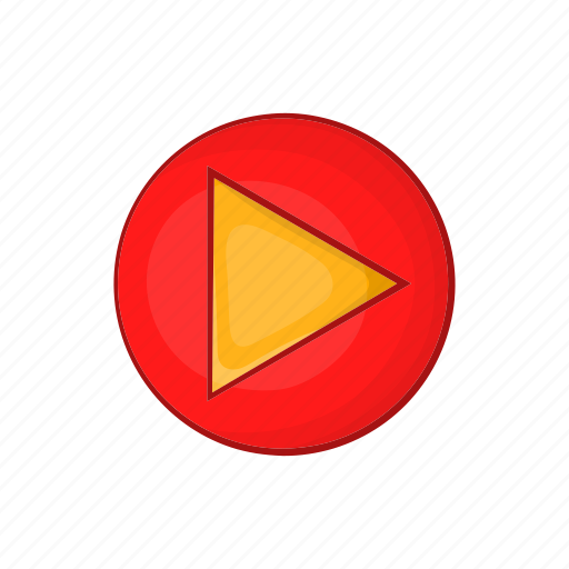 cartoon, circle, media, music, play, sign, start icon