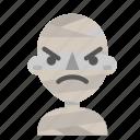 angry, avatar, emoji, halloween, horror, mummy, myth icon