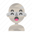 atonished, avatar, emoji, halloween, horror, mummy, myth icon