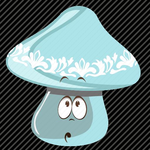cartoon, emoji, face, mushroom, smiley icon