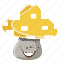 cartoon, emoji, face, mushroom, smiley icon