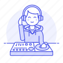 1, controller, dj, headphones, male, mix, mixer, music, system, turntable icon