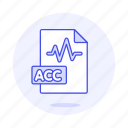 acc, audio, digital, file, format, music, sound, wave icon