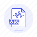 audio, digital, file, format, music, sound, wav, wave icon
