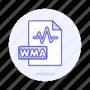 audio, digital, file, format, music, sound, wave, wma icon