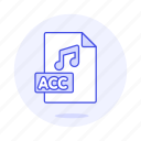 acc, audio, digital, file, format, music, note, sound icon