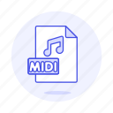 digital, file, format, midi, music, note icon