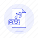 audio, digital, file, format, music, note, ogg, sound