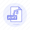 audio, digital, file, format, music, note, sound, wma icon