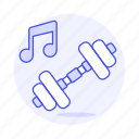 double, dumbell, exercise, genre, gym, music, note, playlist icon