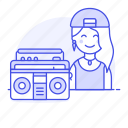 artist, boombox, cassette, female, hip, hiphop, hop, jambox, music, musicians, player, rap