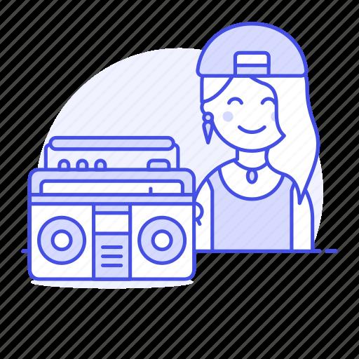artist, boombox, cassette, female, hip, hiphop, hop, jambox, music, musicians, player, rap icon