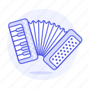 accordion, box, instruments, keyboard, music, shaped
